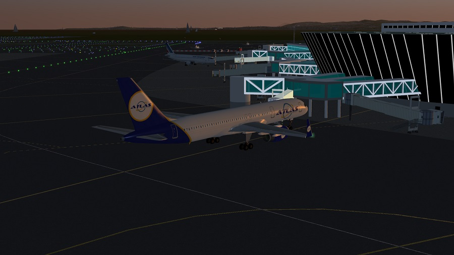 Boeing 757-200 with the new Atlas Virtual Airlines livery at LFMN  in the evening.