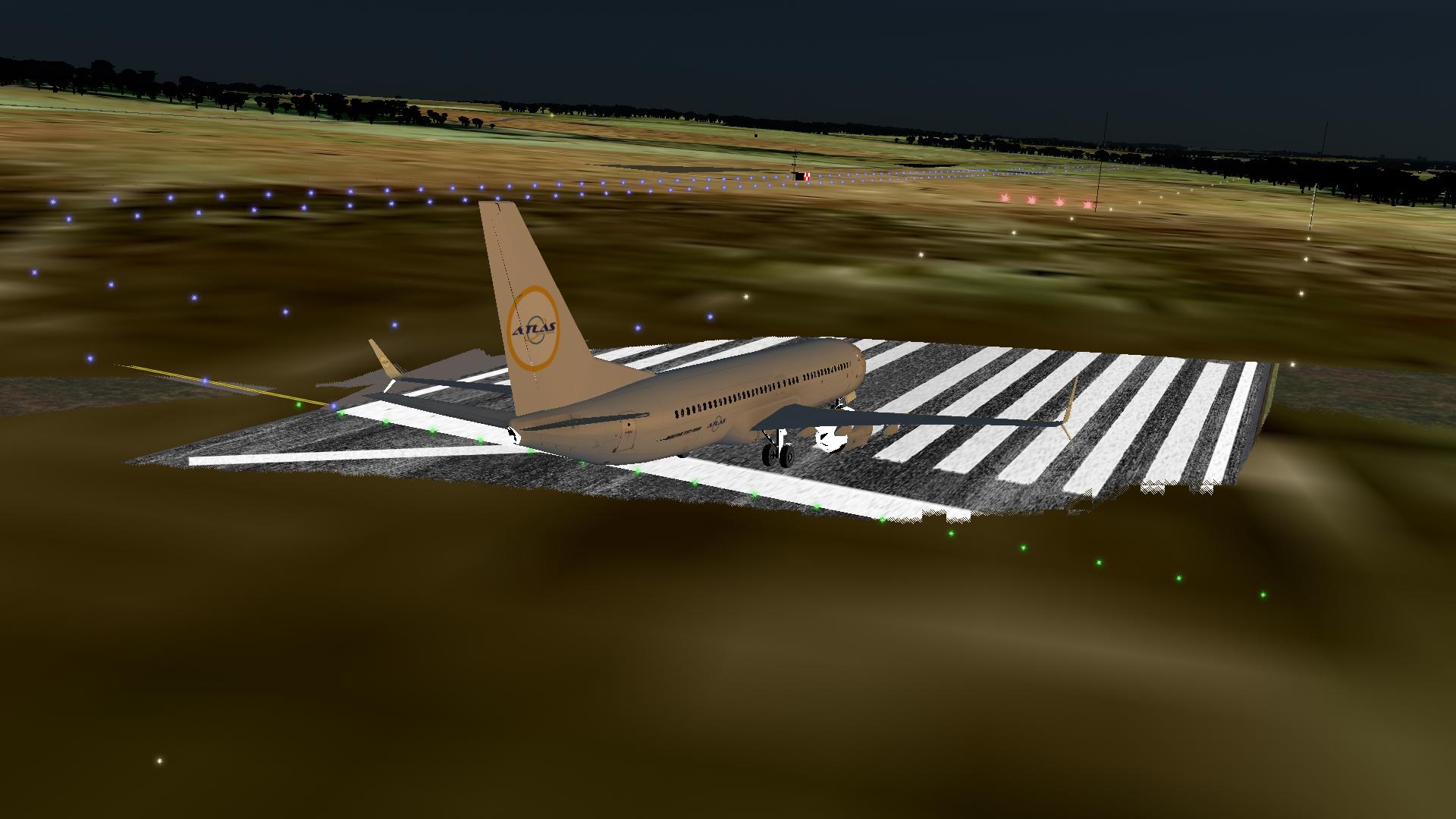 Atlas Virtual Airlines B738 at SGAS runway.